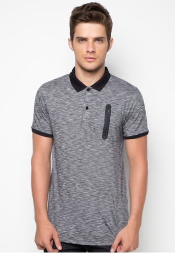 Long Line Polo Shirt with Zipper Detail