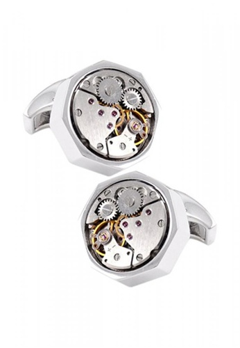 Kings Collection silver Vintage Octagon Watch Functional Mechanical Cuff links with Box KI877AC0KFEQPH_1
