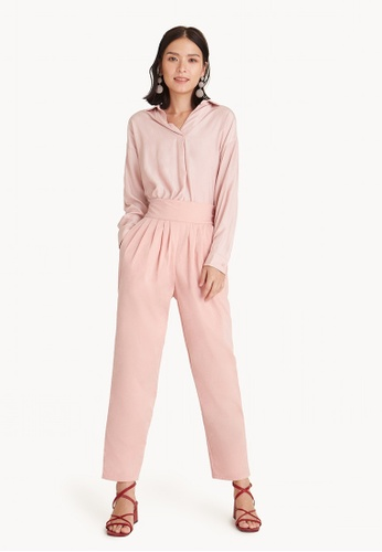 Pomelo pink Semi Pleated High Waist Pants - Pink 9D82DAAF292351GS_1
