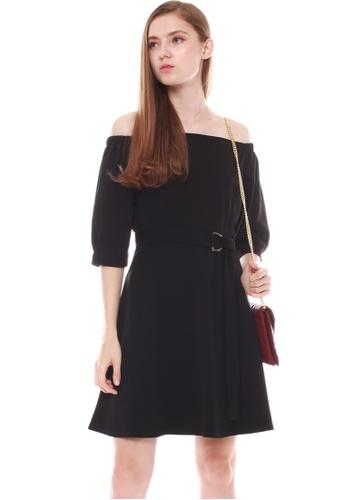 JOVET black 3/4 Sleeved Off Shoulder Dress 49CBFAA71D4CBCGS_1