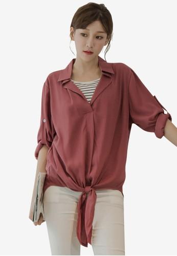Tokichoi red Layered-Look Hem Tie Blouse C1748AA9D64B8FGS_1