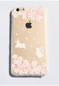 Running Bunnies and Flowers Soft Transparent Case for iPhone 6 plus/ 6s plus