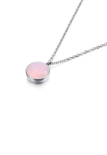 Glamorousky 粉紅色 簡約時尚幾何圓形粉色鋯石316L鋼吊墜配項鏈 6FB16ACAB8901AGS_1