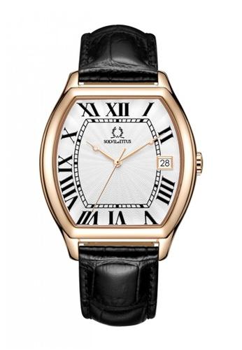 Solvil et Titus black Barista Men's 3 Hands Date Quartz Watch in Silver White Dial and Black Leather Strap 92A8BACAC67B5DGS_1