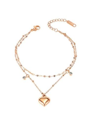 CELOVIS gold CELOVIS - Devonne Heart Double Layer Bracelet in Rose Gold 2BEDAAC6F002DBGS_1