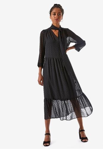 Dorothy Perkins black Petite Black Dobby Shirt Dress 51C1CAABAB5EC7GS_1