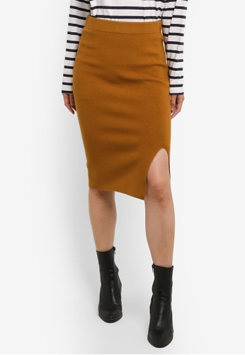 Selected Femme brown Inetta Knit Skirt SE157AA0S409MY_1