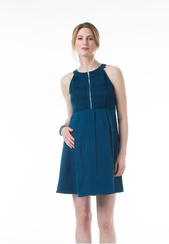 Bove by Spring Maternity blue Woven Sleeveless Cleone Halter Neck Dress Teal 70F33AAB772ABCGS_1