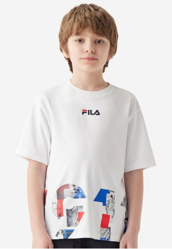 FILA white FILA KIDS 1911 Print Dropped Shoulders Cotton T-shirt 8-16yrs 5C39BKA4B1BBBFGS_1