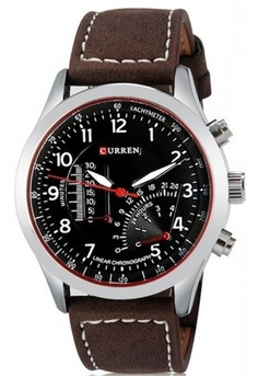 CURREN Men's Dark Brown Polyurethane Leather Watch 8152