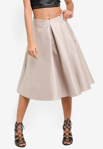 TOPSHOP beige Petite Pleated Front Prom Skirt TO412AA47NIMMY_1
