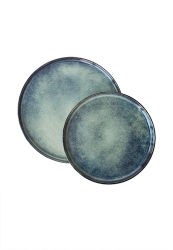Your Lagom blue Turquoise Ink Glazed Ceramic Plate Set 236EFHLD51004FGS_1