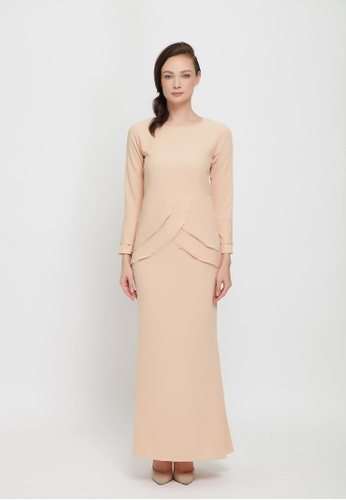 Sarimah Kurung from Colours Thread Clothing in brown and beige_1