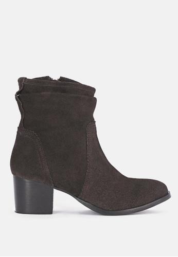 RAG & CO 褐色 褶领皮革短靴 43669SHCEA2F51GS_1