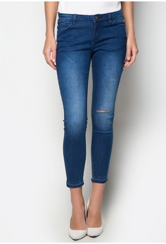 Mid Wash Skinny Jeans with Unfolded Raw Hem
