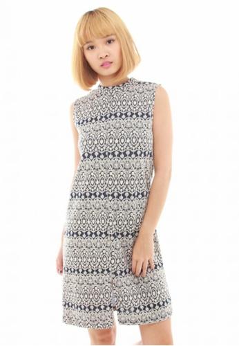 LUXORA white and blue Tribal Print Blue White Cotton Dress LU926AA42QTTSG_1