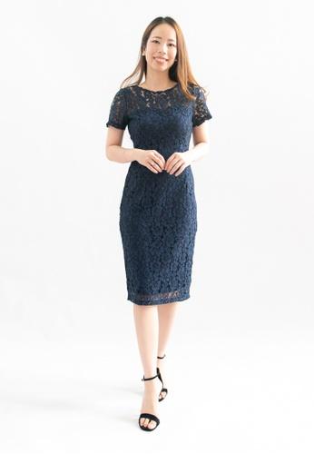 Love Knot blue Destiny Lace Overlay Sheath Dress (Navy) 70BC1AAE9CBDA2GS_1
