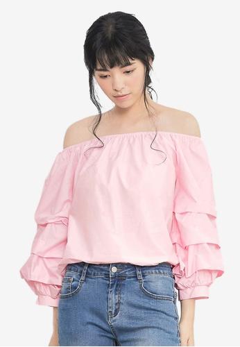 Kodz pink Off-the-Shoulder Top 7F7B0AAE315DF2GS_1