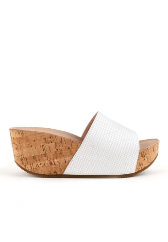 Joy & Peace white Wide Strap Cork Sandals JO458SH79JMEHK_1