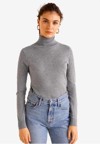MANGO grey Stand Collar T-Shirt 8B124AA3A36CE9GS_1