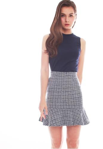 JOVET blue Tweed Skirt 1C2C9AA2E865C0GS_1