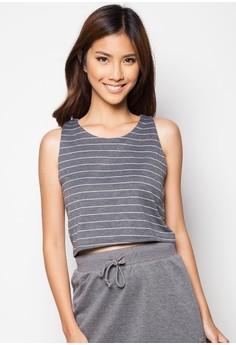 Stripe Back-Origami Crop Top