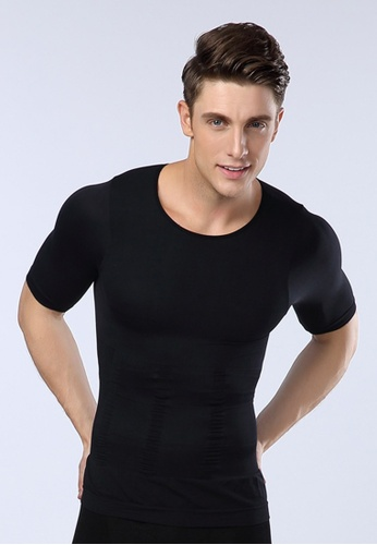 YSoCool black Men's Body Shaper Short Sleeve Compression Shirt D4DD6AA3CF06EDGS_1