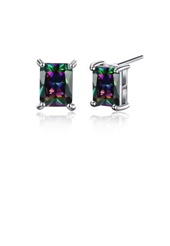 Glamorousky multi Simple Geometric Long Colored Cubic Zirconia Stud Earrings 2E565ACE84E5C8GS_1