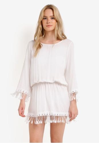 PINK N' PROPER white Blanche Tassled Beach Dress PI108US0RIFCMY_1