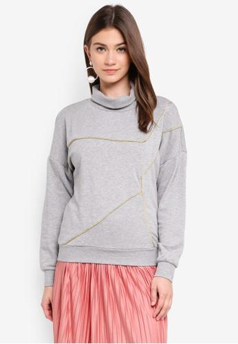 JACQUELINE DE YONG grey Uni Piping Sweater 6708BAA9EA698EGS_1