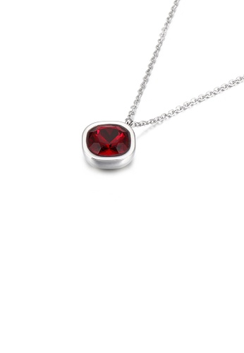 Glamorousky red Simple and Fashion Geometric Square Dark Red Cubic Zirconia 316L Stainless Steel Pendant with Necklace D24F4ACCD05943GS_1