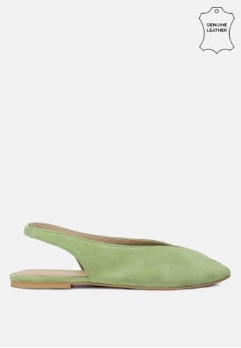 RAG & CO 綠色 皮革面料可调扣平底凉鞋 01316SH4793DE0GS_1