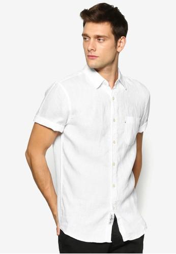 Haesprit分店mpton 亞麻短袖襯衫, 服飾, 襯衫