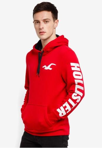 Hollister red Wash Print Logo Hoodie 6756EAA4F0A12DGS_1