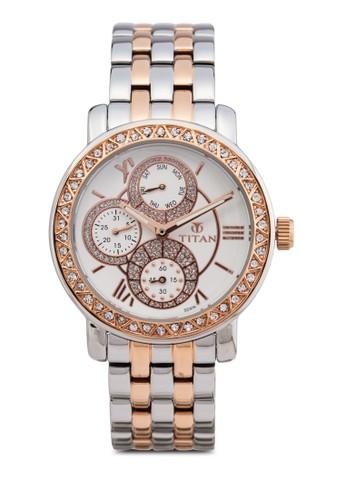 Titan 9esprit 鞋743KM01 多功能水鑽不銹鋼圓錶, 錶類, 時尚型