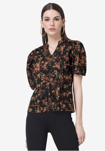 FabAlley black Floral Frilled Pin Tuck Top 76ED9AA43BBBBDGS_1