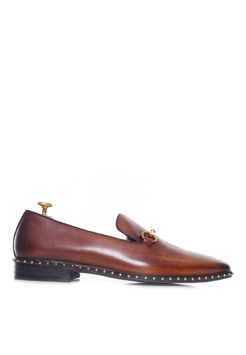 Zeve Shoes brown Zeve Shoes Loafer Slipper - Cognac Tan Leather Brass Horsebit Buckle With Studded Trim (Hand Painted Patina) 51428SH619B8CEGS_1