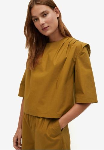 Mango yellow Cotton Pin Tuck Blouse A572AAAFE1406EGS_1