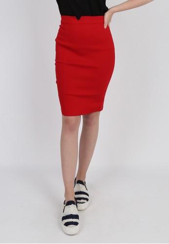 Blanik red Veryn Pencil Mini Skirt 28F28AADFF7419GS_1