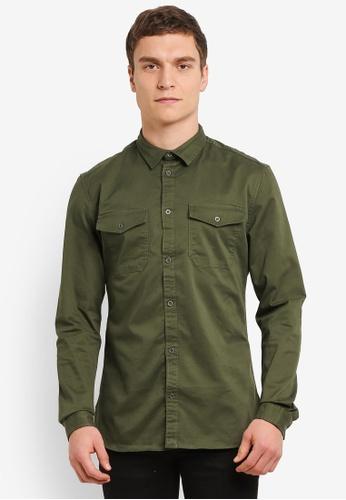 River Island green Long Sleeve Muscle Military Shirt RI009AA0SCUFMY_1