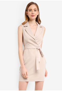 1be7a87feb9 ZALORA beige Formal Lapel Dress 32A96AA9EC1B4EGS 1