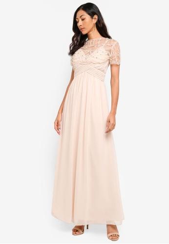 7a245d4f7a Buy Little Mistress Beige Cape Maxi Dress Online on ZALORA Singapore