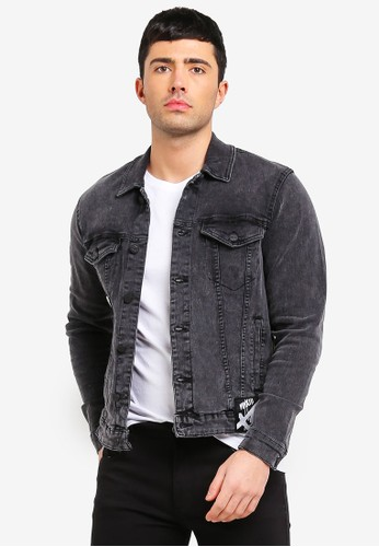 Only & Sons black and grey Coin Black Badge Jacket 02B00AA9F2BAA8GS_1