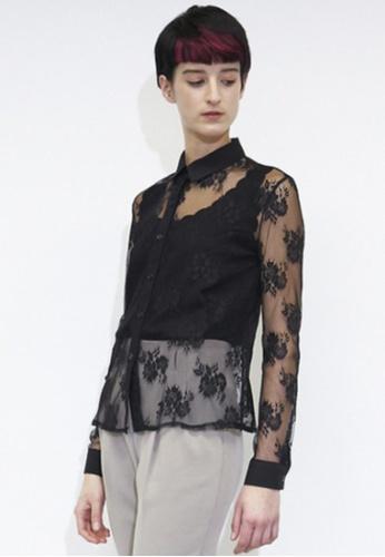 VIK black See-through Look lace Shirts VI189AA06YJDSG_1