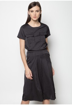 Pinstripe Top and Culottes Set