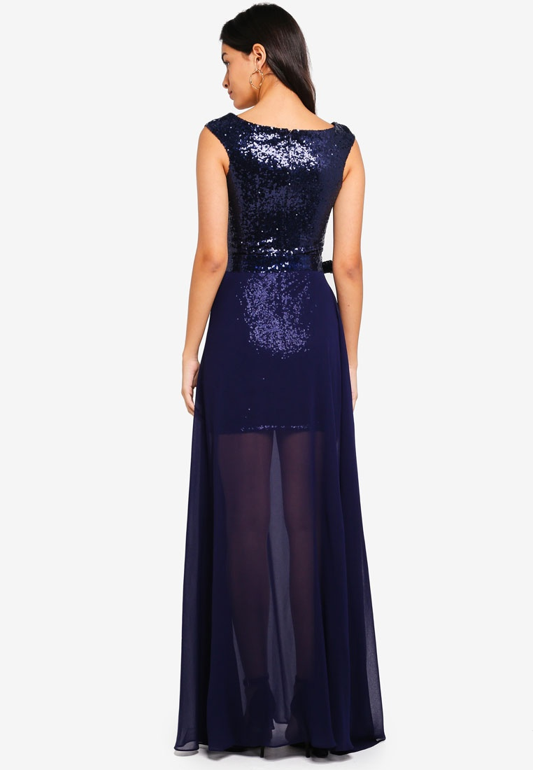 In And Chiffon Navy 2 Goddiva Dress 1 Sequin SdtAq