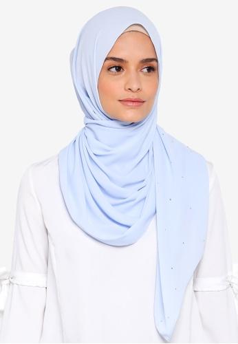 Lubna blue Chiffon With Crystal Shawl 543DFAAF443C65GS_1