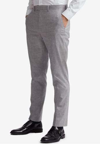 Burton Menswear London grey Grey Black Striped Skinny Fit Suit Trousers 208FFAA25548D3GS_1
