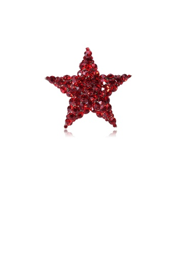 Glamorousky red Simple Bright Star Brooch with Red Cubic Zirconia 432DCAC70AEFE1GS_1
