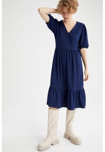 DeFacto navy Short Sleeve Midi Dress 7BB3AAA2EAE773GS_1